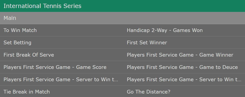 Bet365 Tennis Betting Markets