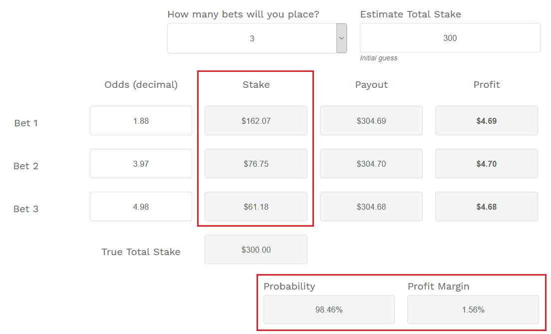 Sports Arbitrage Betting Calculator
