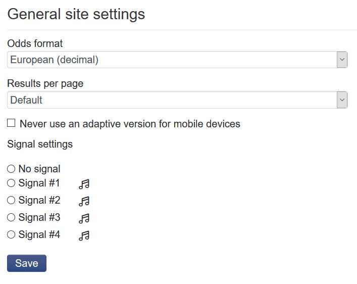 Surebet settings